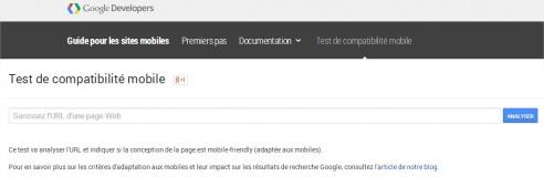 Test de compatibilité mobile - Google Chrome