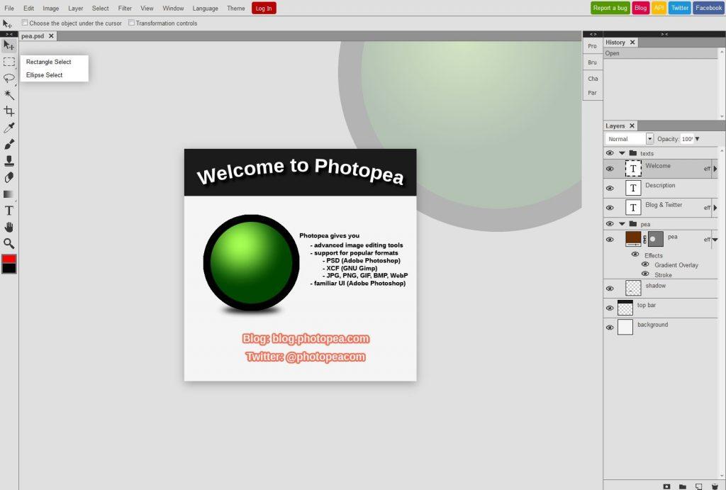 Photopea logiciel edition fichier psd