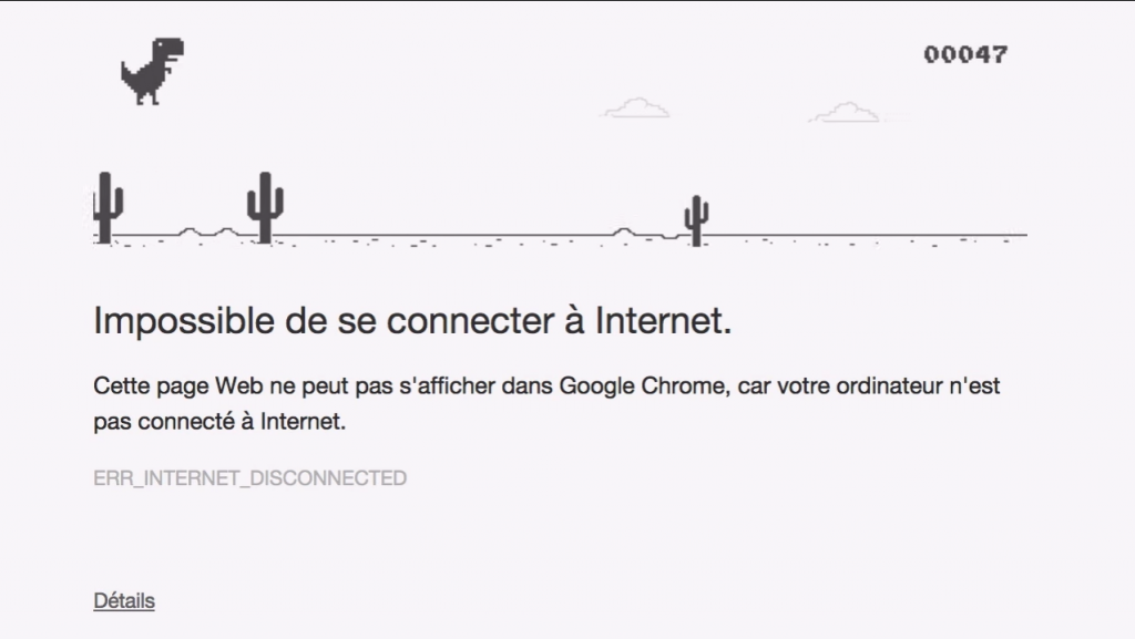 t-rex dinausaure google chrome connexion internet