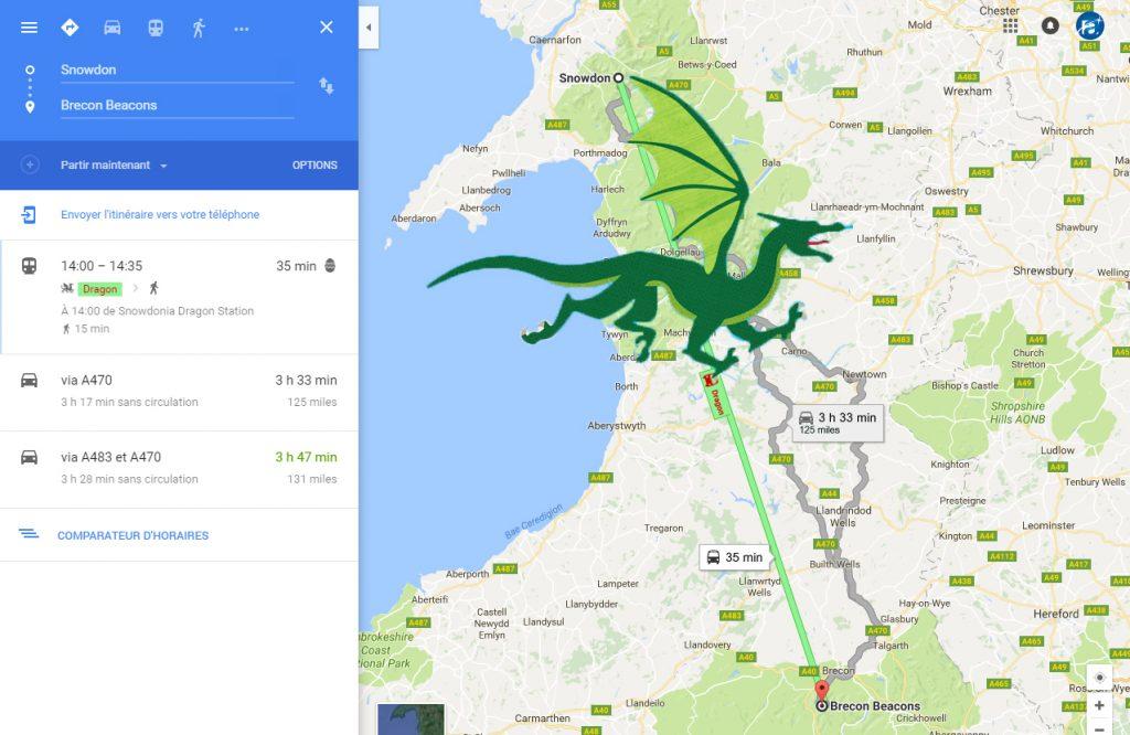 voyager en dragon google map