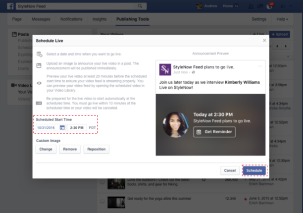 planifier facebook live