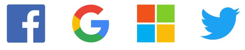 logo-google facebook microsoft et twitter